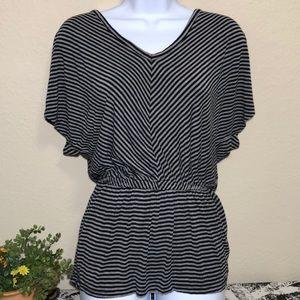 Wassio Women's Black and gray striped blouse
